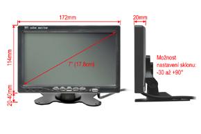 7 univerzální monitor 16:9 - rozměry na stojánku
