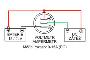 Digitální voltmetr a ampérmetr - schéma zapojení
