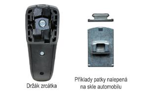 AK-043LA monitor v zrcátku Renault, Dacia - detail patky na skle