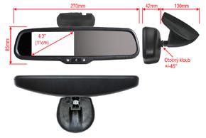 AK-043LA monitor v zrcátku Nissan, Renault - rozměry