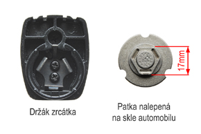 AD-10D vnitřní ztmívací zpětné zrcátko BMW / Peugeot - patka na skle automobilu