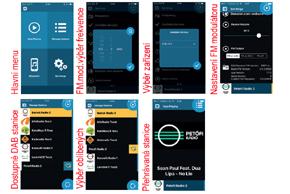 Dension DAB+A radiový přijímač - menu na Smarthone