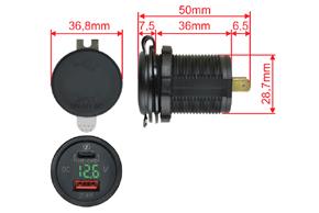Adaptér 12V -> USB 2,4A + USB C + V-metr - rozměry