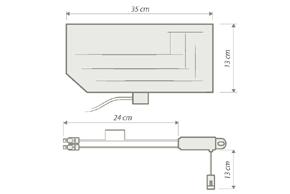AM / FM - DAB vnitřní anténa na sklo - rozměry