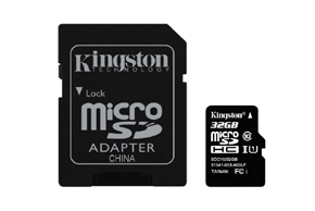 Paměťová karta Kingston 32GB  + adaptér SD